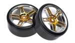 HSP Drift Tyres w. Chrome Wheels - Gold 2pcs