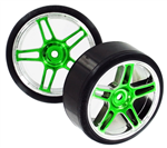 HSP Drift Tyres w. Chrome Wheels - Green 2pcs