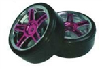 HSP Drift Tyres w. Chrome Wheels - Purple 2pcs
